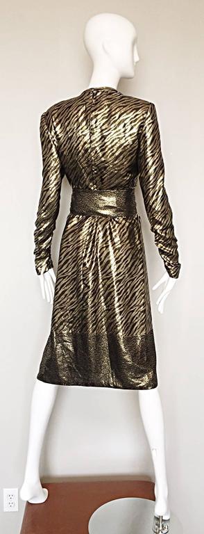 Pauline Trigere Vintage Gold and Black Silk Lame Zebra + Leopard Print Dress For Sale 4