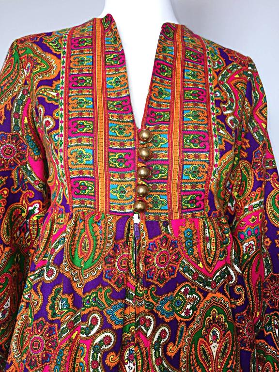 Brown Vintage Joseph Magnin 1970s Psychedelic Paisley 70s Colorful Caftan Maxi Dress For Sale