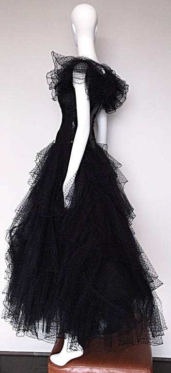 Women's Incredible Vintage David Fielden 80s Black Silk Sequin Tulle British Ball Gown  For Sale