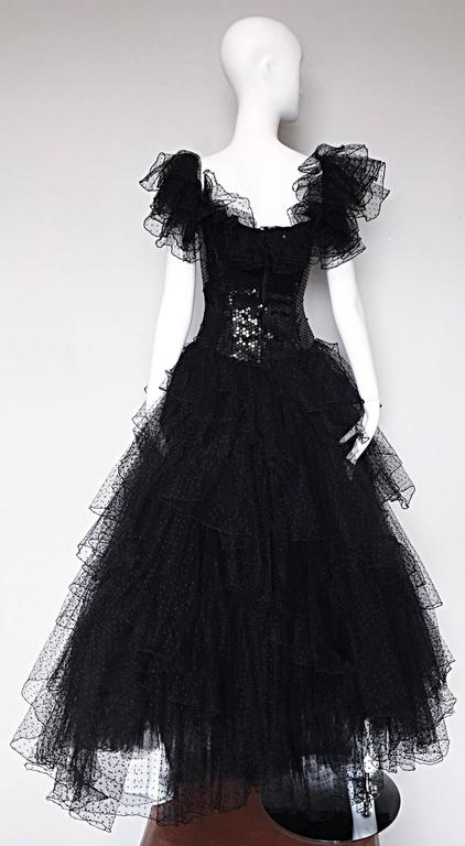 Incredible Vintage David Fielden 80s Black Silk Sequin Tulle British Ball Gown  For Sale 1