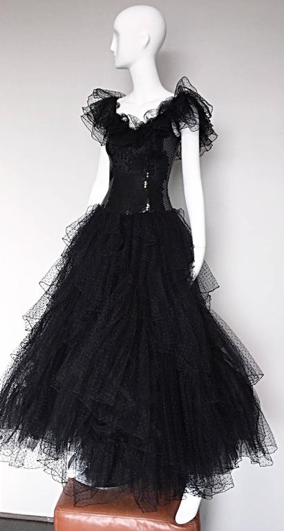 Incredible Vintage David Fielden 80s Black Silk Sequin Tulle British Ball Gown  For Sale 2