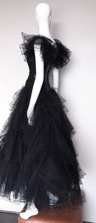 Incredible Vintage David Fielden 80s Black Silk Sequin Tulle British Ball Gown  For Sale 4