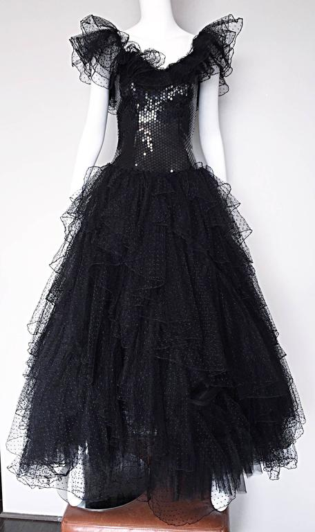 Incredible Vintage David Fielden 80s Black Silk Sequin Tulle British Ball Gown  For Sale 3