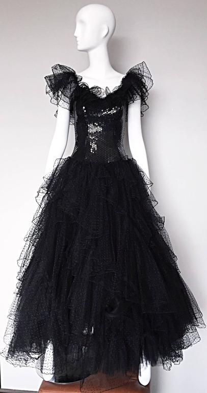 Incredible Vintage David Fielden 80s Black Silk Sequin Tulle British Ball Gown  For Sale 5
