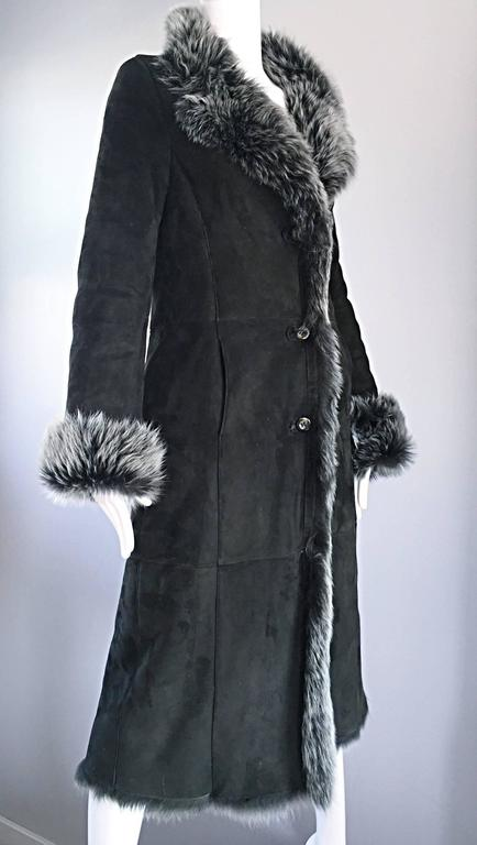 Vintage Italian Hunter Forest Green Lamb Shearling Leather