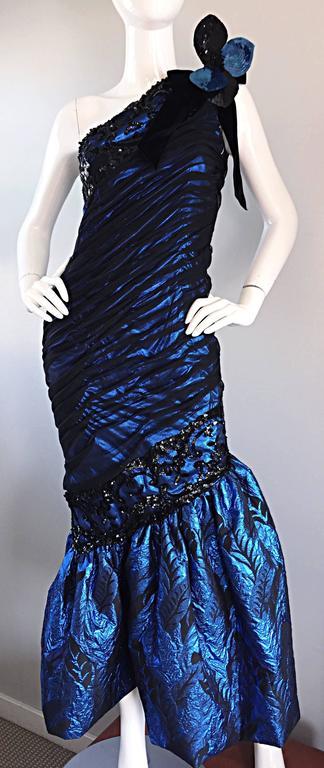 Vintage Ann Lawrence Blue + Black Silk Chiffon One Shoulder Beaded Mermaid Gown For Sale 1