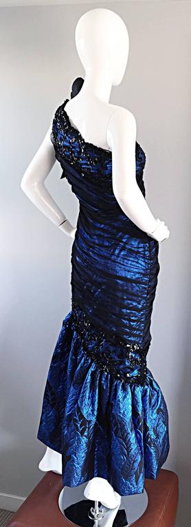 Vintage Ann Lawrence Blue + Black Silk Chiffon One Shoulder Beaded Mermaid Gown For Sale 2