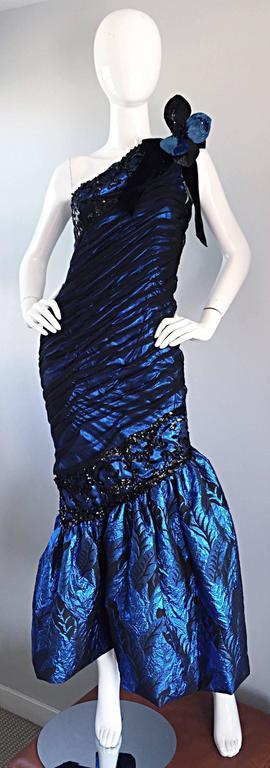 Vintage Ann Lawrence Blue + Black Silk Chiffon One Shoulder Beaded Mermaid Gown For Sale 4