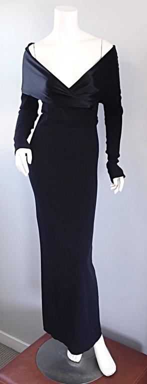 Elegant Jean Paul Gaultier Vintage Black Crepe Jersey Off Shoulder 1990s Gown 2