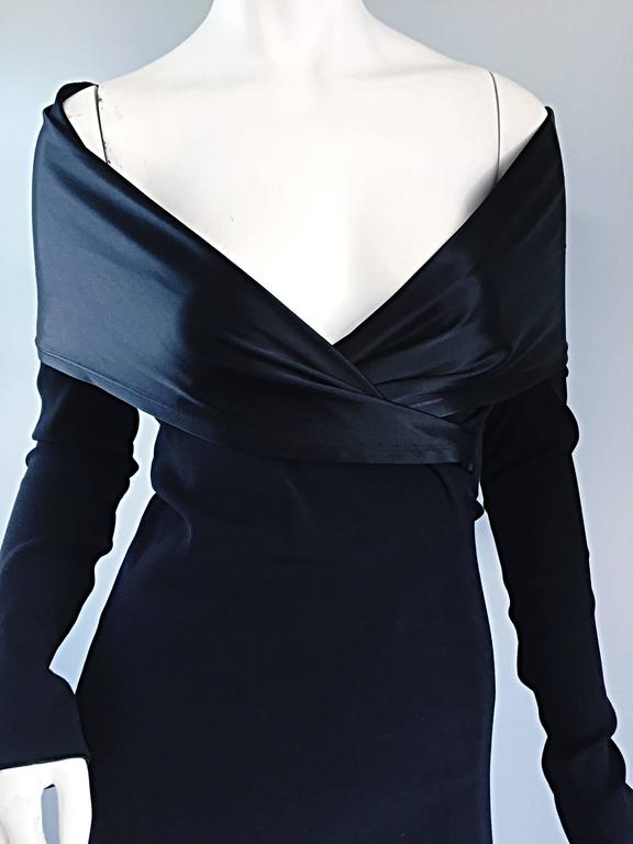Elegant Jean Paul Gaultier Vintage Black Crepe Jersey Off Shoulder 1990s Gown 3