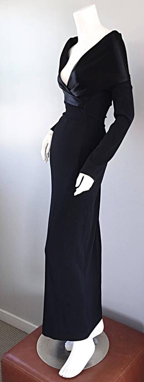 Elegant Jean Paul Gaultier Vintage Black Crepe Jersey Off Shoulder 1990s Gown 4