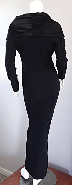 Elegant Jean Paul Gaultier Vintage Black Crepe Jersey Off Shoulder 1990s Gown 5