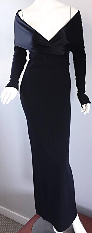 Elegant Jean Paul Gaultier Vintage Black Crepe Jersey Off Shoulder 1990s Gown 6