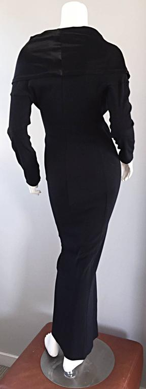 Elegant Jean Paul Gaultier Vintage Black Crepe Jersey Off Shoulder 1990s Gown 7