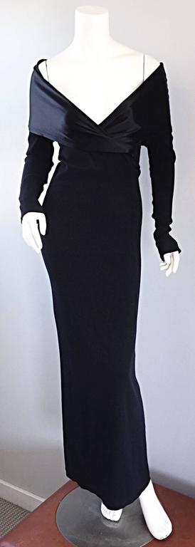 Elegant Jean Paul Gaultier Vintage Black Crepe Jersey Off Shoulder 1990s Gown 8