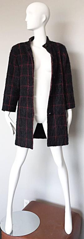 Gray Vintage Geoffrey Beene Beene Bag Grey + Red Plaid Mohair Wool Swing Jacket Coat For Sale