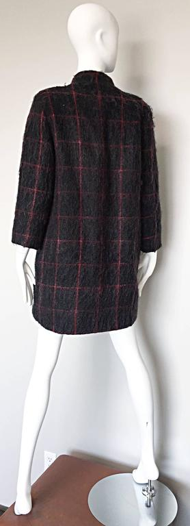 Vintage Geoffrey Beene Beene Bag Grey + Red Plaid Mohair Wool Swing Jacket Coat For Sale 3