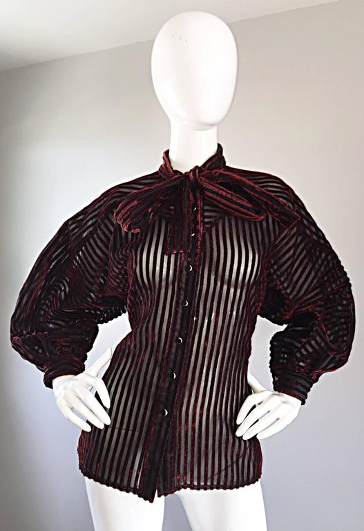 Vintage Nina Ricci Couture Black + Burgundy Silk Cut - Out Semi Sheer Blouse  2