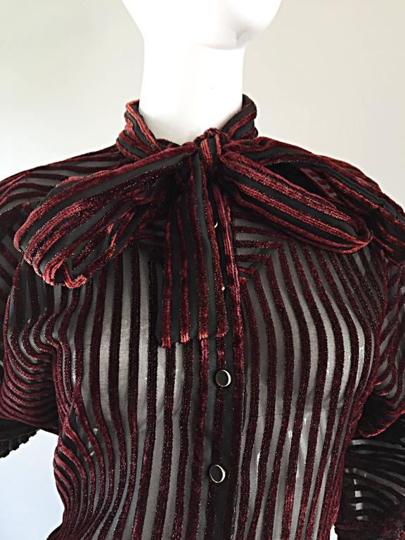 Vintage Nina Ricci Couture Black + Burgundy Silk Cut - Out Semi Sheer Blouse  3