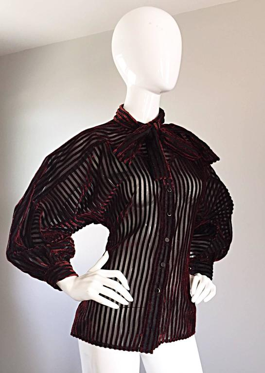 Vintage Nina Ricci Couture Black + Burgundy Silk Cut - Out Semi Sheer Blouse  4