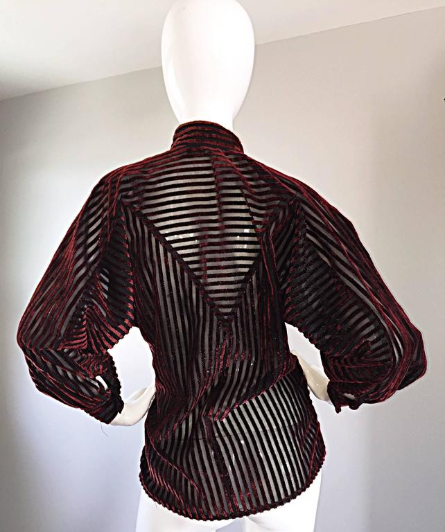 Vintage Nina Ricci Couture Black + Burgundy Silk Cut - Out Semi Sheer Blouse  5