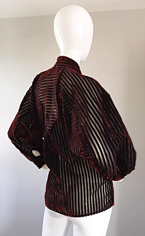 Vintage Nina Ricci Couture Black + Burgundy Silk Cut - Out Semi Sheer Blouse  6