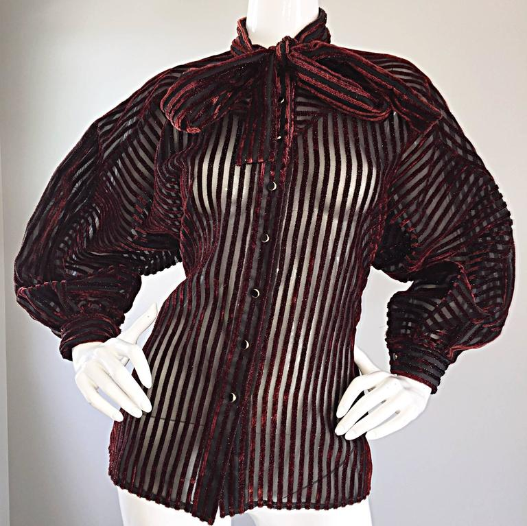 Vintage Nina Ricci Couture Black + Burgundy Silk Cut - Out Semi Sheer Blouse  7