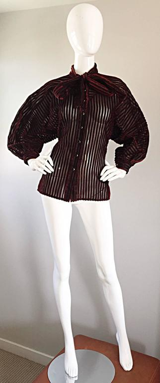 Vintage Nina Ricci Couture Black + Burgundy Silk Cut - Out Semi Sheer Blouse  8