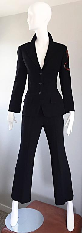 Spectacular Vintage Christian Lacroix Black Beaded Lizard Le Smoking Pant Suit In Excellent Condition For Sale In Chicago, IL