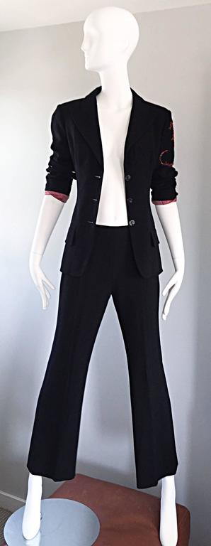 Women's Spectacular Vintage Christian Lacroix Black Beaded Lizard Le Smoking Pant Suit For Sale