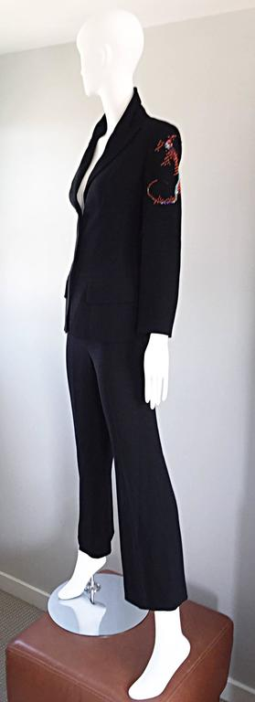 Spectacular Vintage Christian Lacroix Black Beaded Lizard Le Smoking Pant Suit For Sale 1