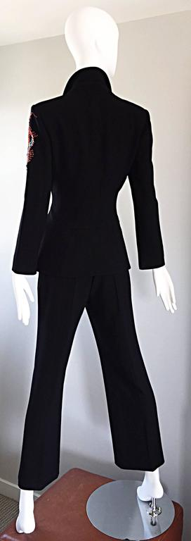 Spectacular Vintage Christian Lacroix Black Beaded Lizard Le Smoking Pant Suit For Sale 3