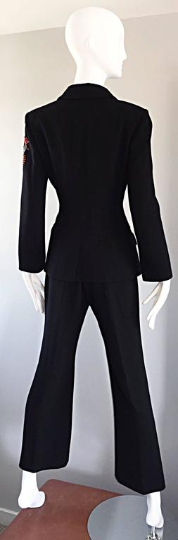 Spectacular Vintage Christian Lacroix Black Beaded Lizard Le Smoking Pant Suit For Sale 4