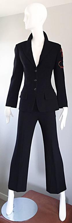 Spectacular Vintage Christian Lacroix Black Beaded Lizard Le Smoking Pant Suit For Sale 5