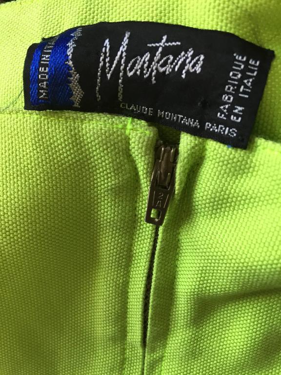Rare Vintage Claude Montana Neon Green Linen + Cotton Romper Jumpsuit Onesie  For Sale 6