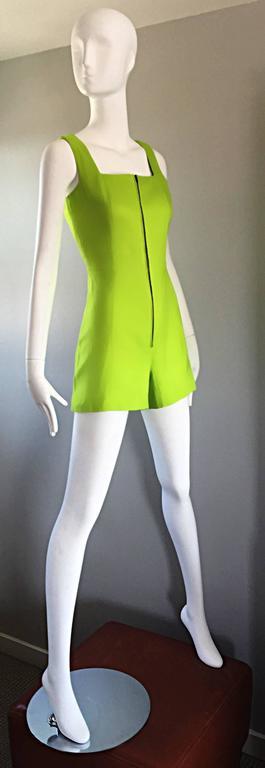 Rare Vintage Claude Montana Neon Green Linen + Cotton Romper Jumpsuit Onesie  In Excellent Condition For Sale In Chicago, IL