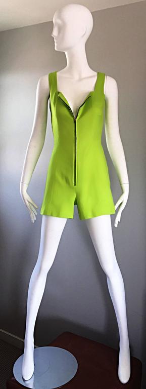 Women's Rare Vintage Claude Montana Neon Green Linen + Cotton Romper Jumpsuit Onesie  For Sale