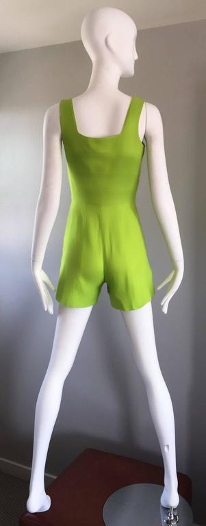 Rare Vintage Claude Montana Neon Green Linen + Cotton Romper Jumpsuit Onesie  For Sale 1