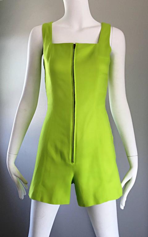 Rare Vintage Claude Montana Neon Green Linen + Cotton Romper Jumpsuit Onesie  For Sale 2