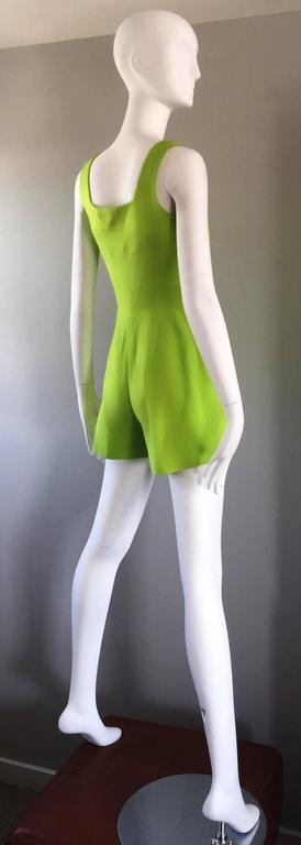Rare Vintage Claude Montana Neon Green Linen + Cotton Romper Jumpsuit Onesie  For Sale 3