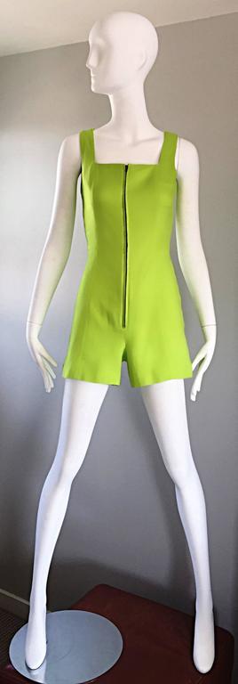 Rare Vintage Claude Montana Neon Green Linen + Cotton Romper Jumpsuit Onesie  For Sale 5