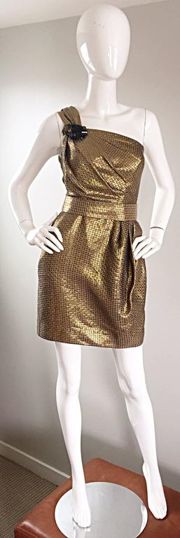 Matthew Williamson Gold / Bronze Jacquard Jeweled Belted One Shoulder Toga Dress 2