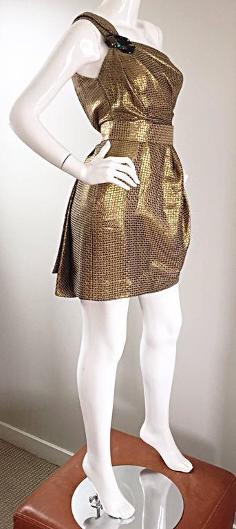 Matthew Williamson Gold / Bronze Jacquard Jeweled Belted One Shoulder Toga Dress 4