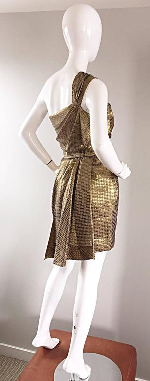 Matthew Williamson Gold / Bronze Jacquard Jeweled Belted One Shoulder Toga Dress 5