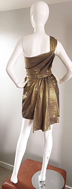 Matthew Williamson Gold / Bronze Jacquard Jeweled Belted One Shoulder Toga Dress 6