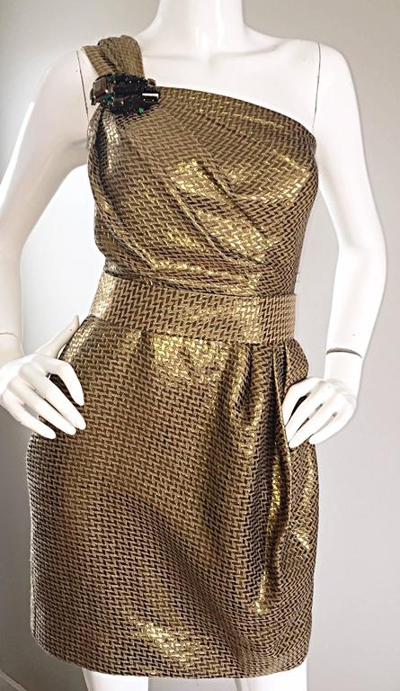 Matthew Williamson Gold / Bronze Jacquard Jeweled Belted One Shoulder Toga Dress 7