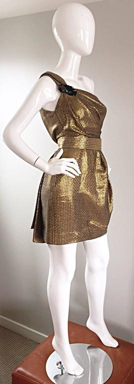 Matthew Williamson Gold / Bronze Jacquard Jeweled Belted One Shoulder Toga Dress 8