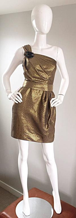 Matthew Williamson Gold / Bronze Jacquard Jeweled Belted One Shoulder Toga Dress 9