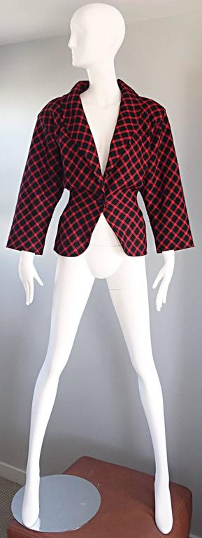 Emanuel Ungaro Vintage 1980s does 1940s Red and Black Plaid Wasp Waist Jacket 8 2