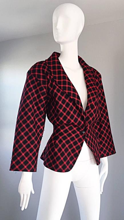 Emanuel Ungaro Vintage 1980s does 1940s Red and Black Plaid Wasp Waist Jacket 8 3